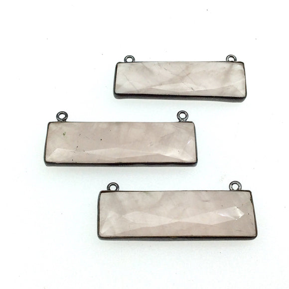 Gunmetal Plated Faceted Rose Quartz Rectangle/Bar Shaped Bezel Connector - ~ 12mm x 40mm - Sold Individually, Chosen Randomly