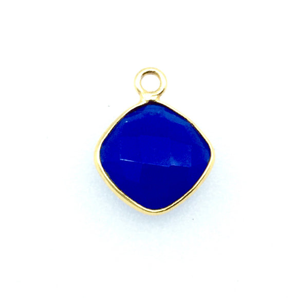 Gold Finish Faceted Cobalt Blue Diamond Shaped Bezel Pendant Component - Measuring 10mm x 10mm - Natural Gemstone