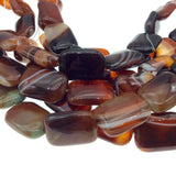 "18mm x 25mm Red Brown Banded Agate Rectangle Beads - 15.5"" Strand (Approx. 16 Beads per Strand) - Natural Semi-Precious Gemstone"