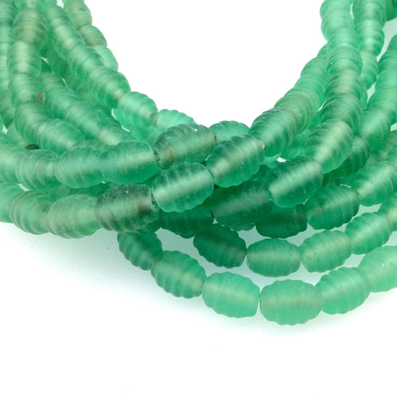14mm x 16mm Matte Green Textured Barrel (Beehive) Shaped Indian Beach/Sea Beadlanta Glass Beads - Sold by 15