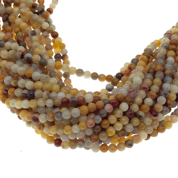 2mm Smooth Glossy Finish Natural Cream/Gold/Gray Crazy Lace Round/Ball Shape Beads W .4mm Holes - Sold by 15.25
