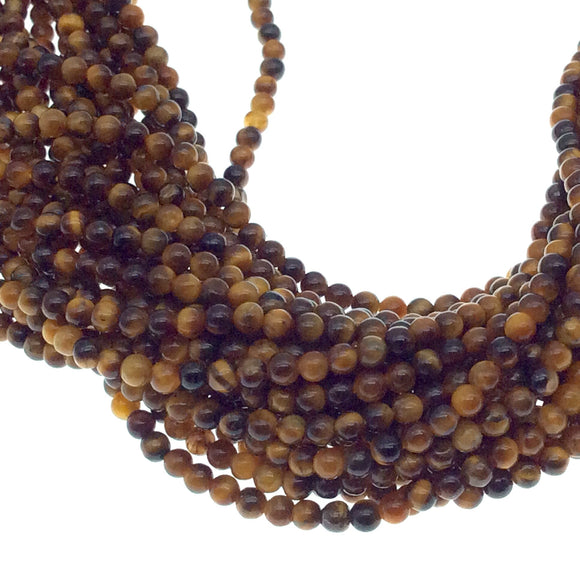 "2mm Smooth Glossy Finish Natural Brown Tiger Eye Round/Ball Shaped Beads with .4mm Holes - Sold by 15.25"" Strands (Approx. 182 Beads)"