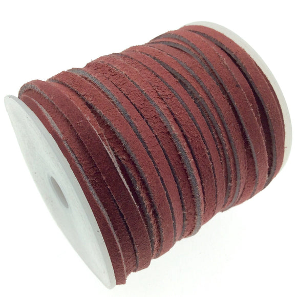 FULL SPOOL - Matte Red Beadlanta Suede Leather Cord - Measuring 3mm - 25 yards per spool - Flat Jewelry Cord