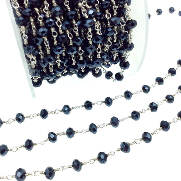 Silver Plated Copper Rosary Chain with 6mm Faceted Opaque AB Metallic Jet Black Glass Crystal Beads - Sold by the Foot! - Beaded Chain