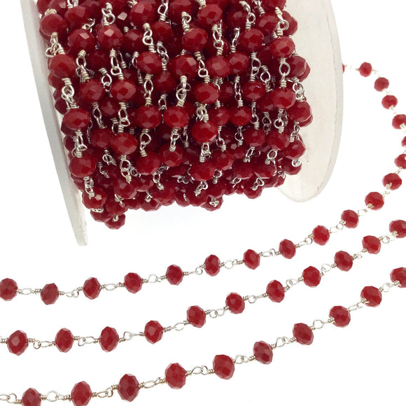 Silver Plated Copper Rosary Chain with 6mm Faceted Opaque Lipstick Red Glass Crystal Beads - Sold by the Foot! - Beaded Chain