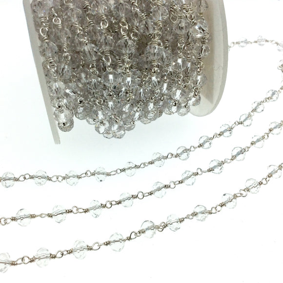 Silver Plated Copper Rosary Chain with 6mm Faceted Transparent Clear Glass Crystal Beads - Sold by the Foot! - Beaded Chain