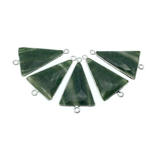 Silver Finish Faceted Green Aventurine Triangle Shaped Bezel Pendant Component - Measuring 18mm x 25mm - Natural Semi-precious Gemstone