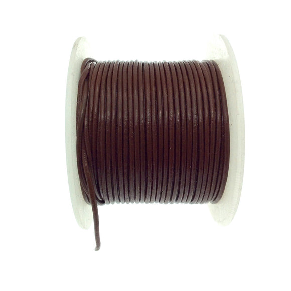 FULL SPOOL - Brown Beadlanta Leather Cord - Measuring 1.5mm - 25 yards per spool - Round Leather Jewelry Cord