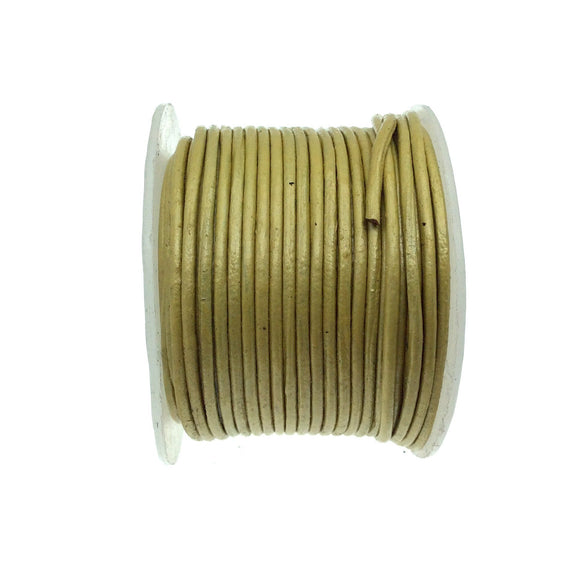 FULL SPOOL - Iridescent Yellow Beadlanta Leather Cord - Measuring 1.5mm - 25 yards per spool - Round Leather Jewelry Cord