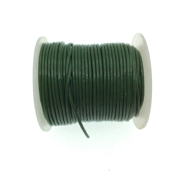 FULL SPOOL - Green Beadlanta Leather Cord - Measuring .5mm - 25 yards per spool - Round Leather Jewelry Cord