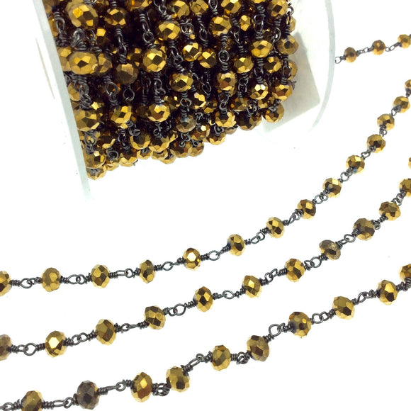 Gunmetal Plated Copper Rosary Chain with 6mm Faceted Opaque AB Metallic Gold Glass Crystal Beads - Sold by the Foot! - Beaded Chain