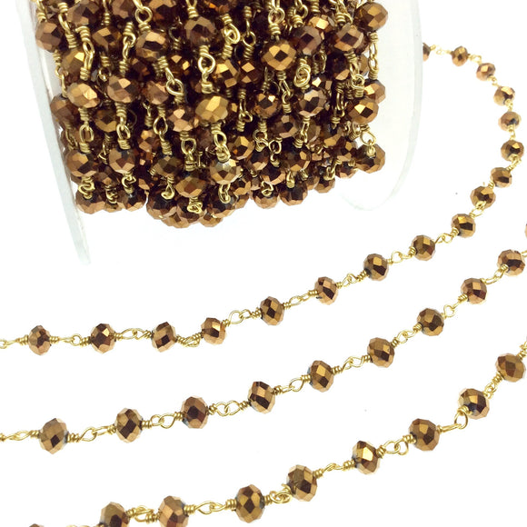 Gold Plated Copper Rosary Chain with 6mm Faceted Opaque AB Metallic Bronze Glass Crystal Beads - Sold by the Foot! - Beaded Chain