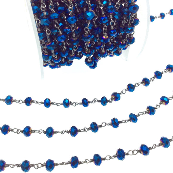 Gunmetal Plated Copper Rosary Chain with 6mm Faceted Opaque AB Metallic Blue Glass Crystal Beads - Sold by the Foot - Beaded Chain