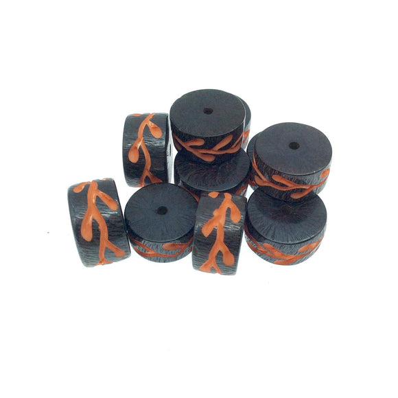 Hand-Carved Orange Colored Vine - Heishi Shaped Resin Bead - 10mm x 18mm approx - Sold by Packs Of Ten (10)