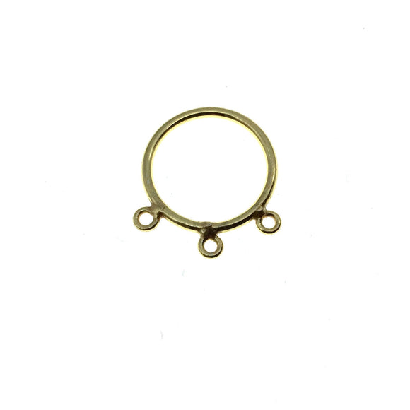 20mm Gold Finish Open Circle with Three Rings Shaped Plated Copper Connector Components - Sold in Packs of 10 Pieces - (662-GD)