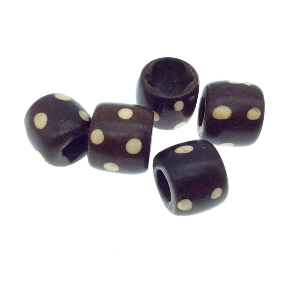 Handcrafted Artistic Barrel Bone Beads - Dark Brown with Ivory Polka Dot Design - 20mm x 15mm with 12mm hole approx - Sold in Packs of 5