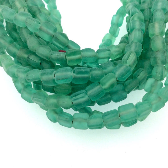 8mm Matte Green Pyramid Shaped Indian Beach/Sea Beadlanta Glass Beads - Sold by 15