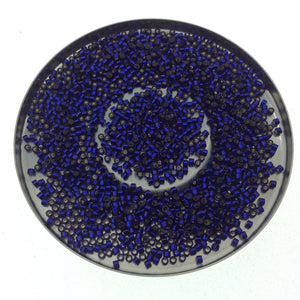 "Size 11/0 Glossy Finish Silver Lined Dark Purple Miyuki Delica Glass Seed Beads - Sold by 7.2 Gram Tubesb(Approx. 1300 Beads per 2"" Tube)"