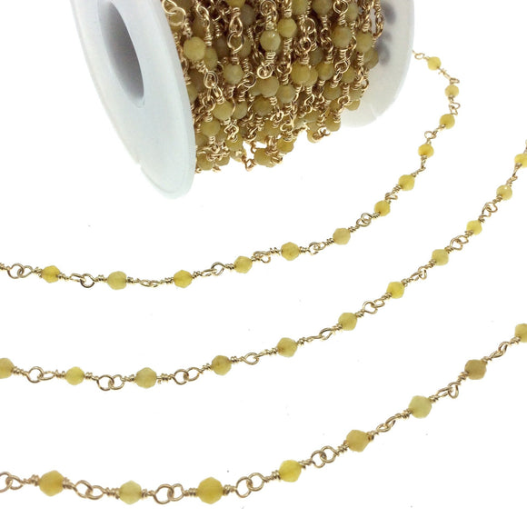 Gold Plated Copper Rosary Chain with 4mm Faceted Round Shaped Yellow Agate Beads (CH219-GD) - Sold by the Foot! - Natural Beaded Chain
