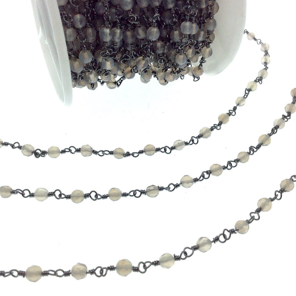 Gunmetal Plated Copper Rosary Chain with Faceted 4mm Round Shape Gray Agate Beads (CH218-GM) - Sold by the Foot! - Natural Beaded Chain
