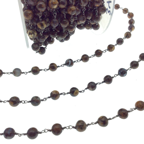 Gunmetal Plated Copper Rosary Chain with 6mm Round Fire Lace Agate Beads - Sold by the Foot! (CH340-GM) - Natural Semi-Precious Beaded Chain