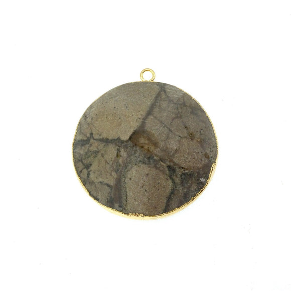 Large Gold Electroplated Eagle Eye Agate Faceted Round/Coin Shaped Pendant - Measures 35-40mm approx. - Sold Individually, Random