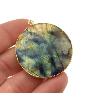 Large Gold Electroplated Natural Labradorite Faceted Round/Coin Shaped Pendant - Measures 40mm x 40mm approx. - Sold Individually, Random