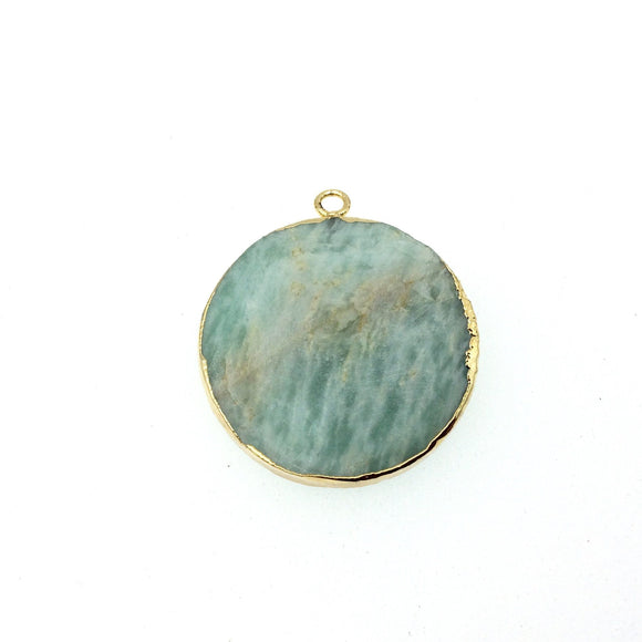 Medium Gold Electroplated Natural Amazonite Faceted Round/Coin Shaped Pendant - Measures 30mm x 30mm approx. - Sold Individually, Random