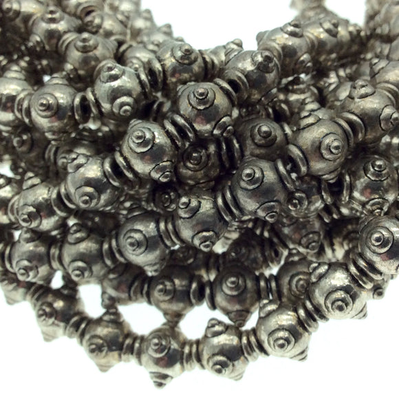 Silver Finish Dotted Urn Pattern Pewter Beads - 8