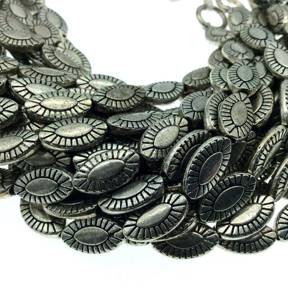 Silver Finish Concho Marquise Pattern Pewter Beads - 8
