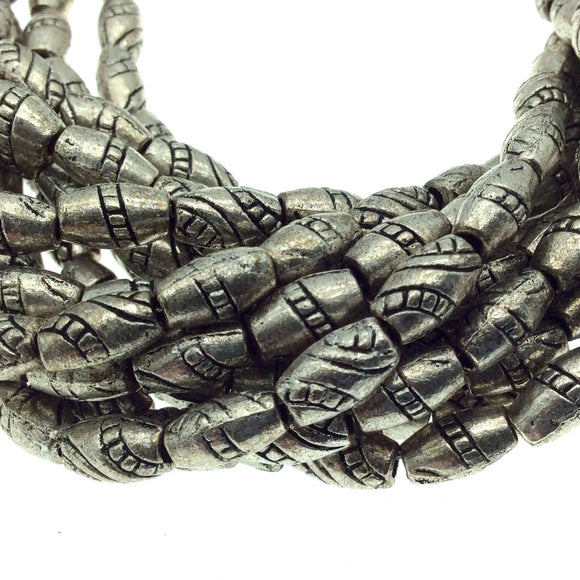 Silver Finish Twisted Barrel Pattern Pewter Beads - 10