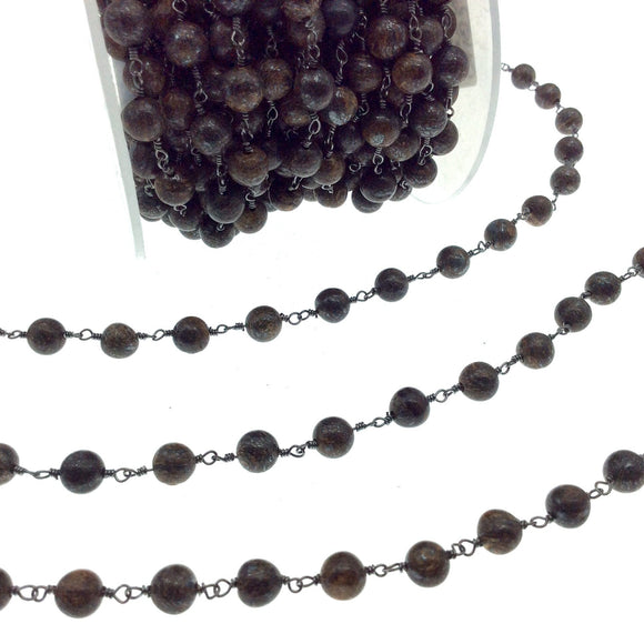 Gunmetal Plated Copper Rosary Chain with 6mm Smooth Round Shaped Bonzite Beads - Sold by the Foot! - Natural Beaded Chain