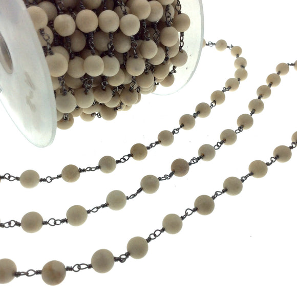 Gunmetal Plated Copper Wrapped Rosary Chain with 6mm Matte Natural Cream River Stone Round Shaped Beads - Sold by the foot! (CH310-GM)