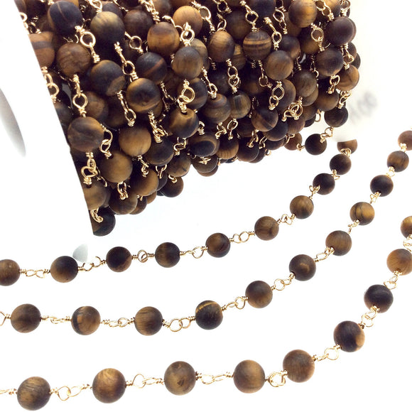 Gold Plated Copper Rosary Chain with 8mm Matte Round Tiger Eye Beads - Sold by the Foot! (CH400-GD) - Semi-Precious Beaded Chain