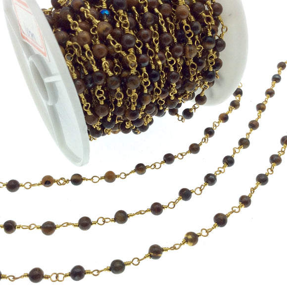 Gold Plated Copper Rosary Chain with 4mm Round Tiger Eye Beads - Sold by the Foot! (CH211-GD) - Natural Semi-Precious Beaded Chain