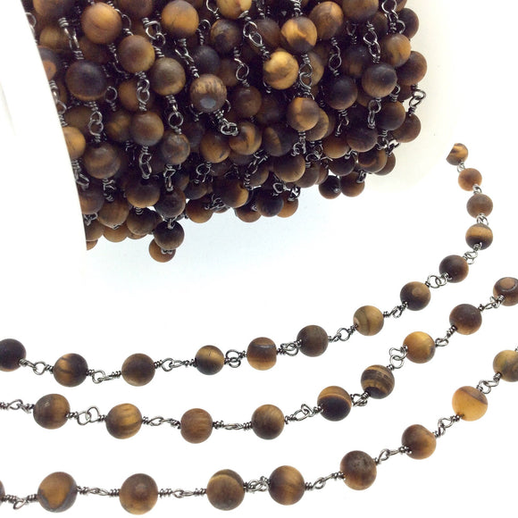 Gunmetal Plated Copper Rosary Chain with 6mm Matte Round Tiger Eye Beads - Sold by the Foot! (CH298-GM) - Semi-Precious Beaded Chain