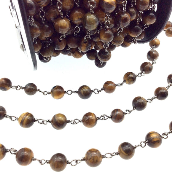 Silver Plated Copper Rosary Chain with 8mm Round Tiger Eye Beads - Sold by the Foot! (CH399-SV) - Natural Semi-Precious Beaded Chain