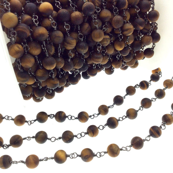 Gunmetal Plated Copper Rosary Chain with 8mm Matte Round Tiger Eye Beads - Sold by the Foot! (CH400-GM) - Semi-Precious Beaded Chain