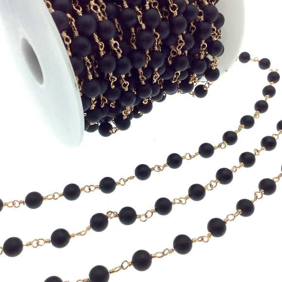 Gold Plated Copper Wrapped Rosary Chain with 6mm Matte Finish Black Agate Round Shaped Beads - Sold by the foot!