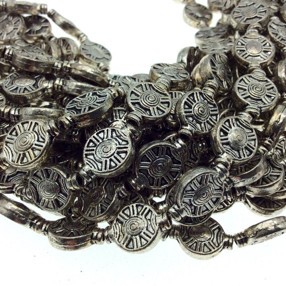 Silver Finish Flat Round Wheel/Spoke/Spinner Shaped Pewter Beads - 8