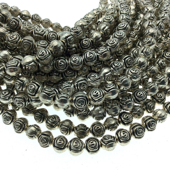 Silver Finish Embossed Swirl Flattened Round Pewter Beads - 7.5