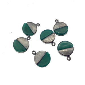 Tiny Gunmetal Finish Round/Coin Shaped Semicircle Green Onyx Plated Copper Pendant Component - Measuring 9mm x 9mm  - Sold in Pack of Two