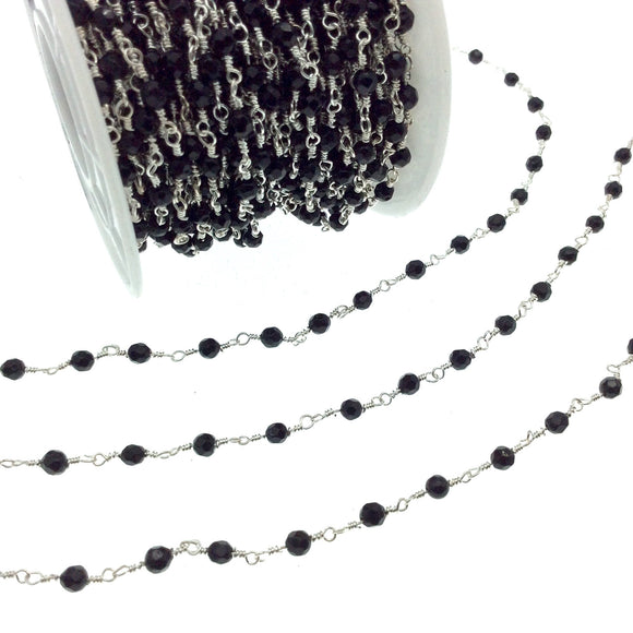 Silver Plated Copper Wrapped Rosary Chain with 3mm Faceted Black Agate Round Shaped Beads - Sold by the foot!