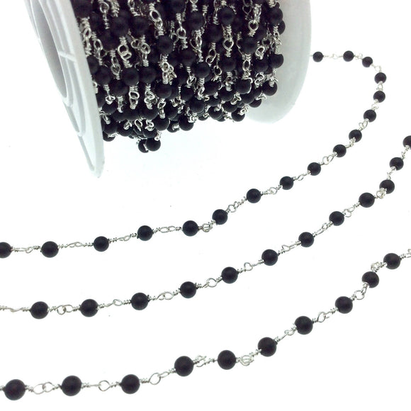 Silver Plated Copper Wrapped Rosary Chain with 3mm Matte Finish Black Agate Round Shaped Beads - Sold by the foot!