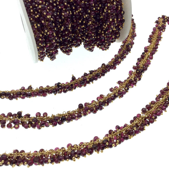 Gold Plated Copper Double Dangle Rosary Chain with 3-4mm Faceted Natural Garnet Rondelle Beads - Sold by 1' Cut Sections or in Bulk!
