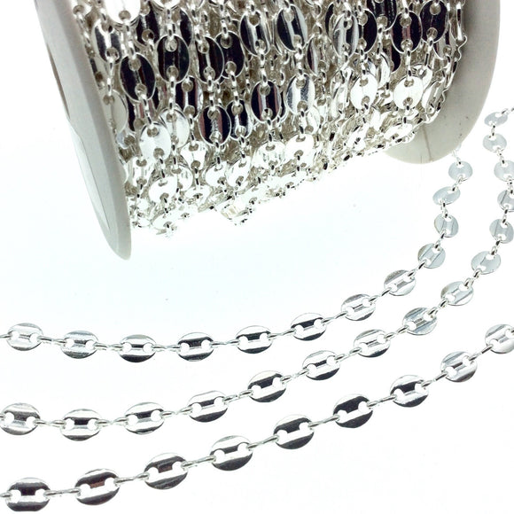 Silver Plated Brass Oval Disc and Link Chain - 8mm Oval With Connectors - Sold By the Foot!