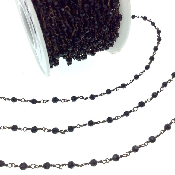 Antique Bronze Plated Copper Wrapped Rosary Chain with 3mm Faceted Black Agate Round Shaped Beads - Sold by the foot!