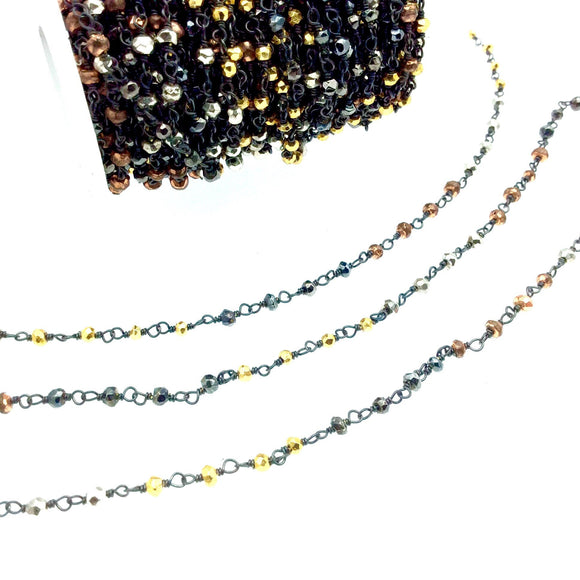 Gunmetal Plated Copper Wrapped Rosary Chain with 3-4mm Faceted Multi Colored Plated Pyrite Rondelle Beads - Sold by 1' Cut Sections!