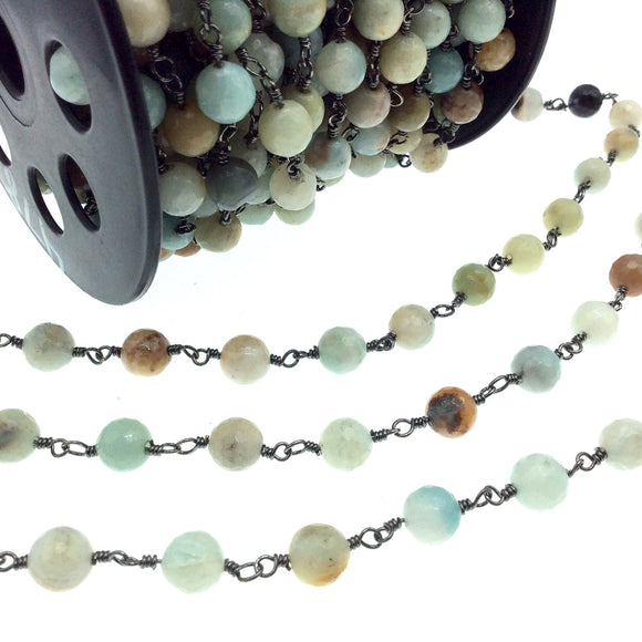 Gunmetal Plated Copper Wrapped Rosary Chain with 8mm Faceted Natural Mixed Amazonite Round Shaped Beads - Sold by the Foot!