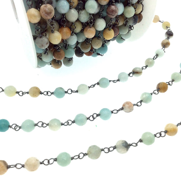 Gunmetal Plated Copper Wrapped Rosary Chain with 6mm Faceted Natural Mixed Amazonite Round Shaped Beads - Sold by the Foot!